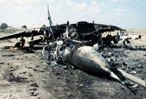 Iraqi MiG-2 destroyed by Allied forces in Operation Desert Storm. Wikimedia Commons.