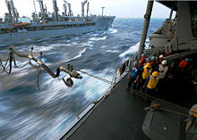 US_Navy_060318-N-7526R-154_Amphibious_command_ship_USS_Blue_Ridge_(LCC_19)_Sailors_look_on_as_a_refueling_probe_crosses_over_the_South_China_Sea,